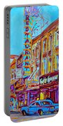 Downtown Montreal Street Rue Ste Catherine Vintage City Street With Shops And Stores Carole Spandau  Portable Battery Charger