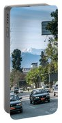 Downtown Street In Santiago De Chile City And Andes Mountains Portable Battery Charger