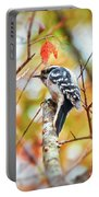 Downy Woodpecker In Autumn Forest Portable Battery Charger