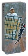 Downy Woodpecker In The Snow Portable Battery Charger