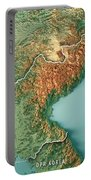 Dpr Korea 3d Render Topographic Map Border Portable Battery Charger