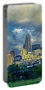 Dramatic Sky With Clouds Over Charlotte Skyline Portable Battery Charger