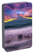 Dramatic Sunrise Over Foggy Downtown Portland Portable Battery Charger