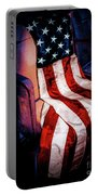 Draped American Flag Portable Battery Charger