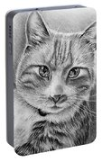 Drawing Of A Cat In Black And White Portable Battery Charger