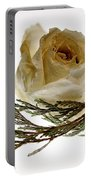 Dried White Rose Portable Battery Charger