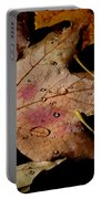 Droplets On Fallen Leaves Portable Battery Charger