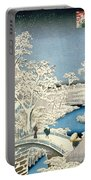 Drum Bridge And Setting Sun Hill At Meguro Portable Battery Charger by Hiroshige