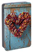 Dry Flower Wreath On Blue Door Portable Battery Charger
