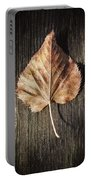 Dry Leaf On Wood Portable Battery Charger