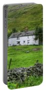 Dry Stone Wall And White Cottage - P4a16022 Portable Battery Charger