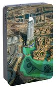 Dubai Downtown Aerial View By Sunset, Dubai, United Arab Emirates Portable Battery Charger