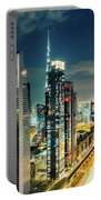 Dubai Downtown Architecture And A Highway.  Portable Battery Charger