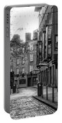 Dublin Ireland - Essex Street In Black And White Portable Battery Charger