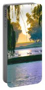 Duck Pond At Dawn Portable Battery Charger