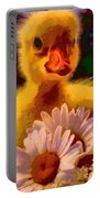 Fuzzy Duckling And Daisies Portable Battery Charger