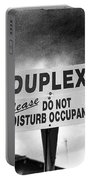 Duplex Yard Sign Stormy Sky In Bw Portable Battery Charger