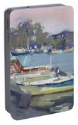 Dusk At Chalkoutsi's Harbor Greece Portable Battery Charger