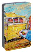 Dutch Holiday, Yellow Surf Bus Portable Battery Charger