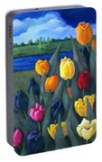 Dutch Tulips With Landscape Portable Battery Charger