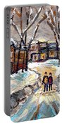 Original Montreal Paintings For Sale Winter Walk After The Snowfall Exceptional Canadian Art Spandau Portable Battery Charger