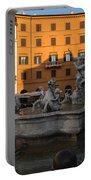Early Morning Glow - Neptune Fountain On Piazza Navona In Rome Italy Portable Battery Charger