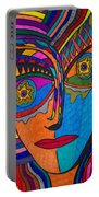 Earth And Aqua Mask - Abstract Face Portable Battery Charger