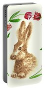 Easter Background With Rabbit Portable Battery Charger
