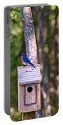 Eastern Bluebird Perched On Birdhouse 2 Portable Battery Charger