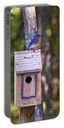 Eastern Bluebird Perched On Birdhouse 3 Portable Battery Charger