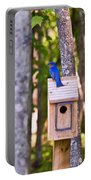 Eastern Bluebird Perched On Birdhouse Portable Battery Charger