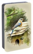 Eastern Bluebird Watercolor Art Portable Battery Charger