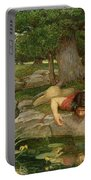 Echo And Narcissus Portable Battery Charger by John William Waterhouse