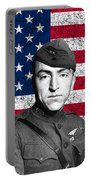 Eddie Rickenbacker And The American Flag Portable Battery Charger by War Is Hell Store