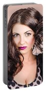 Edgy Hair Fashion Model With Brunette Hairstyle Portable Battery Charger