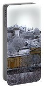 Edinburgh Castle And National Galleries Of Scotland In Winter Portable Battery Charger