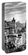 Edinburgh From Calton Hill.    Black And White Portable Battery Charger