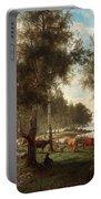Edvard Bergh, Summer Landscape With Cattle And Birches. Portable Battery Charger