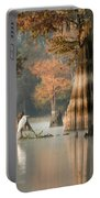 Egret Enjoying Foggy Morning In Atchafalaya Portable Battery Charger