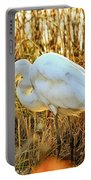 Egret Fishing In Sunset At Forsythe National Wildlife Refuge Portable Battery Charger