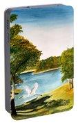Egret Flying Over Texas Landscape Portable Battery Charger
