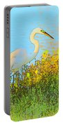 Egret In The Lake Shallows Portable Battery Charger