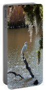 Egret On Stump Portable Battery Charger