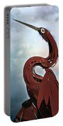 Egret Under Stormy Skies Portable Battery Charger