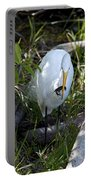 Egret With Crayfish Portable Battery Charger