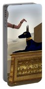 Egyptian Woman And Anubis Statue Portable Battery Charger