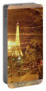 Eiffel Tower By Bus Tour Greeting Card Poster Portable Battery Charger