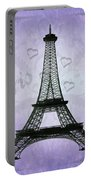 Eiffel Tower Collage Purple Portable Battery Charger