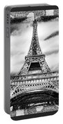 Eiffel Tower In Black And White Design II Portable Battery Charger