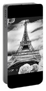 Eiffel Tower In Black And White Design IIi Portable Battery Charger